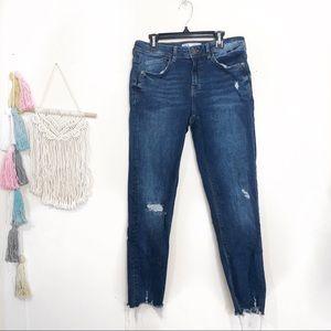 Zara | High Rise Crop Jeans sz